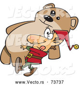 Vector of Cartoon Christmas Elf Delivering Big Teddy Bear Gift by Toonaday