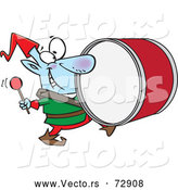 Vector of Cartoon Christmas Elf Playing the Drums by Toonaday