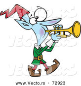 Vector of Cartoon Christmas Elf Playing Trumpet by Toonaday