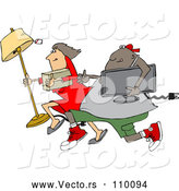 Vector of Cartoon Chubby Black Juvenile Deliquent Guy and White Lady Looting and Running with Stolen Items by Djart