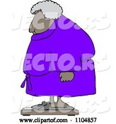 Vector of Cartoon Chubby Black Lady in a Robe Standing on a Scale by Djart