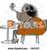 Vector of Cartoon Chubby Black Lady Sitting with Coffee at a Table and Waving with a Flabby Arm by Djart