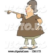 Vector of Cartoon Chubby Brunette White Lady with Flabby Arms, Pointing by Djart