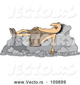 Vector of Cartoon Chubby Caveman Sleeping on Boulders by Djart