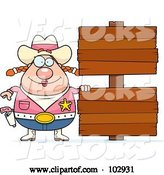 Vector of Cartoon Chubby Cowgirl by Double Wooden Signs by Cory Thoman
