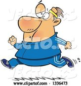 Vector of Cartoon Chubby Determined White Guy Running in a Track Suit by Toonaday