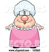 Vector of Cartoon Chubby Granny in a Pink Dress by Cory Thoman