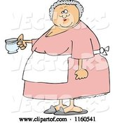 Vector of Cartoon Chubby Lady Wearing an Apron and Holding a Tea Cup by Djart