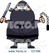 Vector of Cartoon Chubby Ninja Guy with Weapons by Cory Thoman