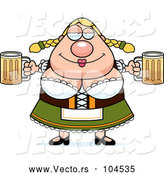 Vector of Cartoon Chubby Oktoberfest German Lady Holding Two Beers by Cory Thoman