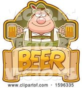 Vector of Cartoon Chubby Oktoberfest Guy Holding Beer Mugs over a Text Banner by Cory Thoman