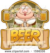 Vector of Cartoon Chubby Oktoberfest Lady Holding Beer Mugs over a Text Banner by Cory Thoman