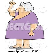 Vector of Cartoon Chubby Senior White Lady Holding up a Fist, with Her Arms Sagging by Djart