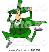 Vector of Cartoon Chubby St Patricks Day Leprechaun Holding His Hat and Running by Djart