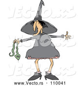 Vector of Cartoon Chubby Warty Halloween Witch Holding a Snake by Djart