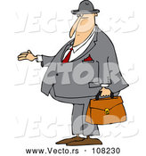 Vector of Cartoon Chubby White Debt Collector or Business Man Holding His Hand out for Payment by Djart