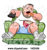 Vector of Cartoon Chubby White Guy, Couch Potato, Watching Tv and Eating by Yayayoyo