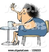 Vector of Cartoon Chubby White Lady Sitting with Coffee at a Table and Waving by Djart