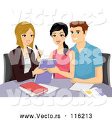 Vector of Cartoon Couple Going over Their Wedding with a Planner by BNP Design Studio