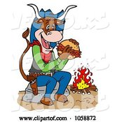Vector of Cartoon Cow Eating a Pulled Pork Sandwich by a Fire by LaffToon