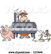 Vector of Cartoon Cow Pig and Chicken by a Bbq Smoker by LaffToon