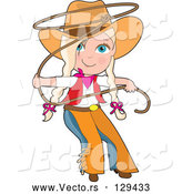 Vector of Cartoon Cowgirl in Chaps and a Hat, Swirling a Lasso, Her Blond Hair in BraChildren by Maria Bell