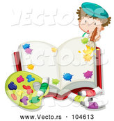 Vector of Cartoon Creative White Boy Painting a Book by Graphics RF