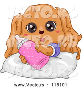 Vector of Cartoon Cute Cocker Spaniel Puppy with a Bottle by BNP Design Studio