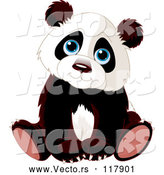 Vector of Cartoon Cute Panda Cub Sitting by Pushkin