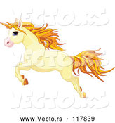 Vector of Cartoon Cute Yellow Unicorn Leaping by Pushkin