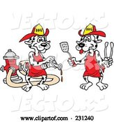 Vector of Cartoon Dalmatian Dog Using a Bbq Sauce Hose and Another Dog Holding Tongs and a Spatula by LaffToon