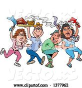 Vector of Cartoon Dancing Line of Mardi Gras People Having a Blast and Carrying Hot Bbq Food by LaffToon
