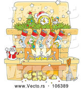 Vector of Cartoon Decorated Christmas Fireplace Hearth by Alex Bannykh
