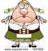 Vector of Cartoon Depressed Chubby Oktoberfest German Lady by Cory Thoman