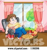 Vector of Cartoon Depressed Fat Guy Surrounded by Junk Food by Graphics RF
