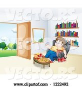 Vector of Cartoon Depressed Gluttonous Guy Surrounded by Food near an Open Door by Graphics RF