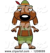Vector of Cartoon Depressed Skinny German Oktoberfest Dachshund Dog Wearing Lederhosen by Cory Thoman