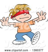 Vector of Cartoon Dirty Blond White Boy Playing Blind Mans Buff by Johnny Sajem
