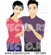 Vector of Cartoon Dissapointed Couple with a Negative Pregnancy Test by BNP Design Studio