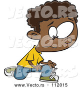 Vector of Cartoon Distressed Black Boy with a Knot in His Shoe Laces by Toonaday