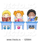 Vector of Cartoon Diverse School KChildren Doing Work at Their Desks by BNP Design Studio