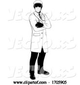 Vector of Cartoon Doctor Silhouette Healthcare in Medical PPE Mask by AtStockIllustration