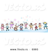 Vector of Cartoon Doodled Kids Playing in the Snow by BNP Design Studio