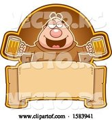 Vector of Cartoon Drunk Monk Holding Beer Mugs over a Blank Banner by Cory Thoman
