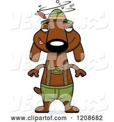Vector of Cartoon Drunk Skinny German Oktoberfest Dachshund Dog Wearing Lederhosen by Cory Thoman