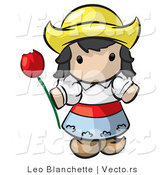 Vector of Cartoon Dutch Girl Holding Red Tulip Flower by Leo Blanchette