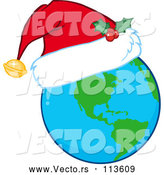 Vector of Cartoon Earth Globe Wearing a Christmas Santa Hat by Hit Toon