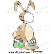 Vector of Cartoon Easter Bunny Wearing a Covid-19 N95 Mask by Djart