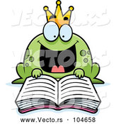 Vector of Cartoon Excited Frog Prince Reading a Fairy Tale Book by Cory Thoman