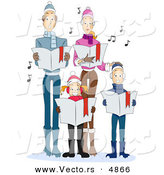Vector of Cartoon Family Singing Christmas Carols Together by BNP Design Studio